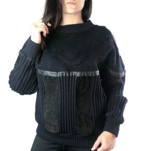Mark Elliot vintage black leather sweater small